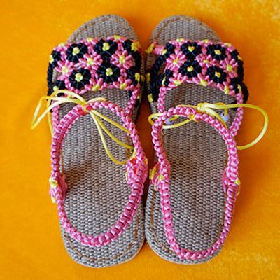 手工编织中国结女士凉鞋 小太阳花款 成品